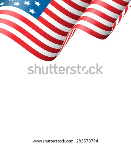 Wavy USA national flag isolated on white background - stock vector