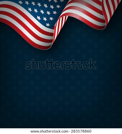 Wavy USA national flag on blue background - stock vector