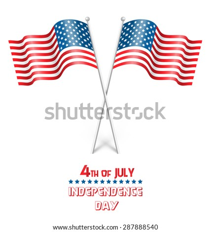 Wavy USA national flags isolated on white background - stock vector