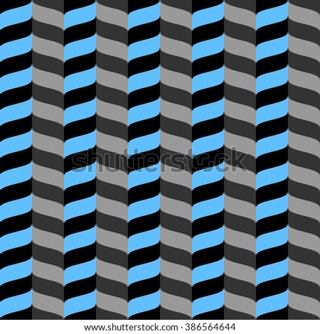 Wavy zig zag seamless pattern. Blue, gray and black background. Abstract geometric waves texture. 3d effect. Design template graphic for wallpaper, wrapping, fabric, textile, etc. Vector Illustration. - stock vector