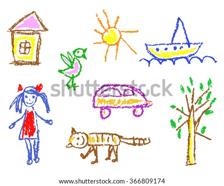 Wax crayon kid`s drawn girl, house, bird, cat, sun, car, tree, ship isolated on white. Child`s drawn colorful pastel chalk vector design elements. Set of kid`s painting objects. - stock vector