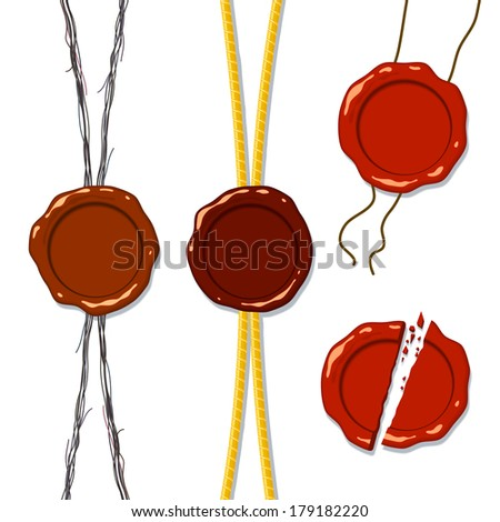 Wax seal on a rope, a separate whole and splintered into pieces; Eps8