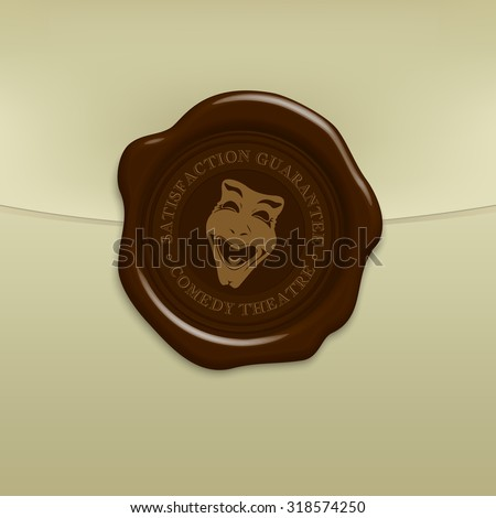 Wax seal quality stamp with comedy and tragedy theater masks sign. EPS10 - stock vector