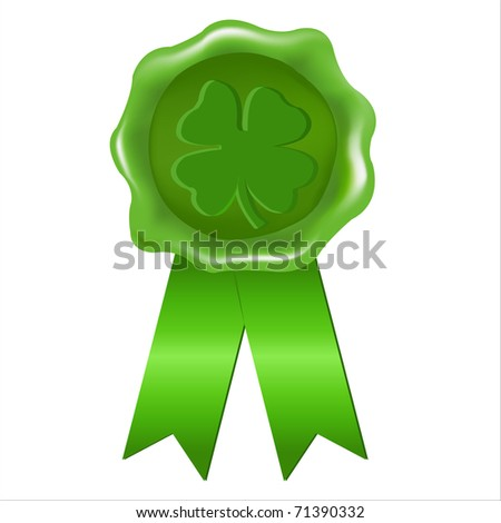 Wax Seal, St. Patrick's Day, Isolated On White Background, Vector Illustration - stock vector