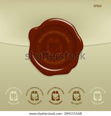 Wax seal with quality stamp for medical centers and clinics (Fertility, Gynecology, Health center) - stock vector