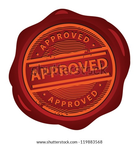 Wax seal with text Approved inside, vector illustration - stock vector