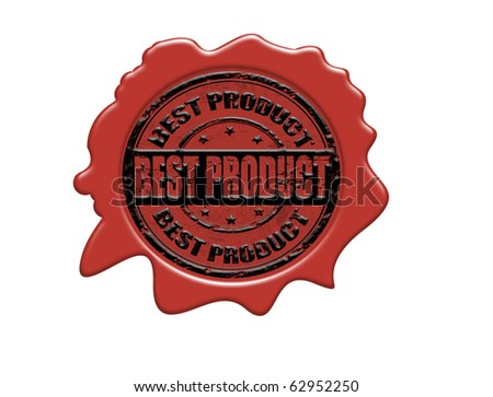 Wax seal with the text best product, vector illustration