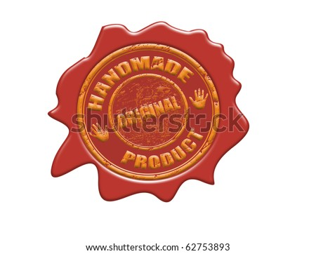 Wax seal with the text handmade, original product, vector illustration