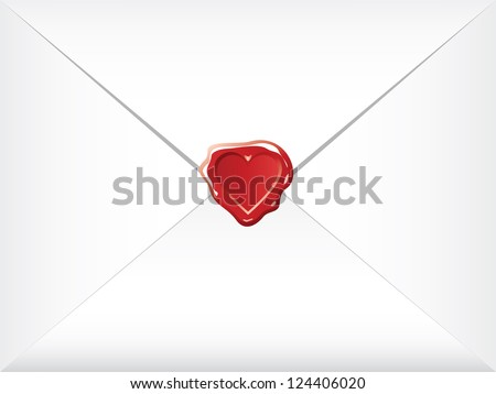 wax shaped heart sealed envelopes - stock vector