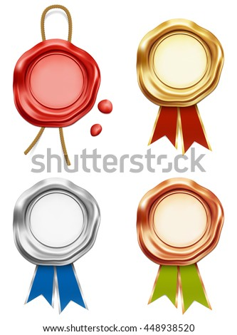 Wax stamp seal, golden, silver, bronze quality brand guarantee award - stock vector