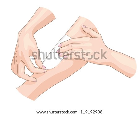 Waxing epilation. Vector illustration. - stock vector