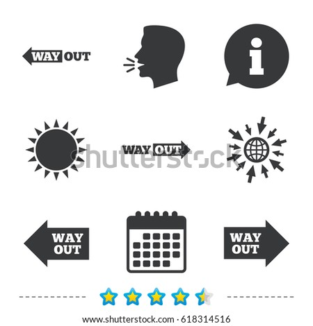Way Out Icons Left Right Arrows Stock Vector 618314516 Shutterstock