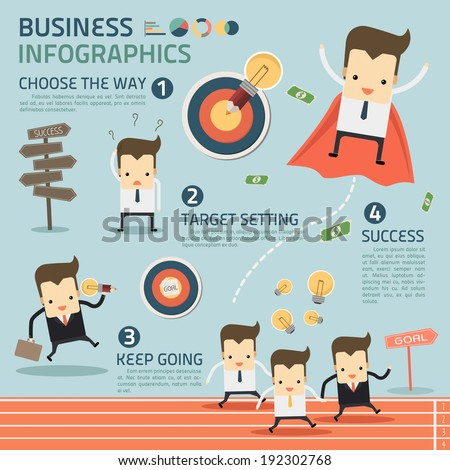 way to success in business infographics vector - stock vector