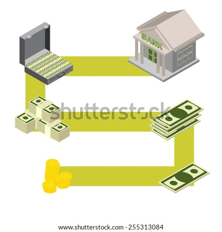 way to the Bank. Isometric stylele. vector illustration - stock vector