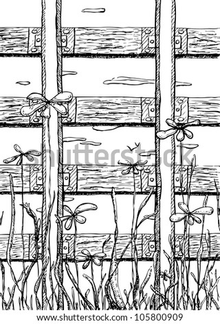 Way upwards. Vector illustration of railway and flowers drawn with drafting ink