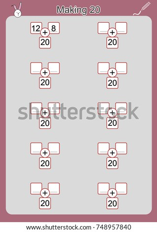 Ways Make 20 Addition Worksheet Children Stock Photo (Photo, Vector ...