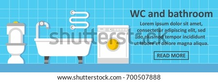 Wc And Bathroom Banner Horizontal Concept. Flat Illustration Of Wc And Bathroom  Banner Horizontal Vector