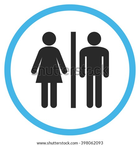 WC Persons vector bicolor icon. Image style is a flat icon symbol inside a circle, blue and gray colors, white background.