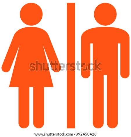 WC Persons vector icon. Style is flat icon symbol, orange color, white background. - stock vector
