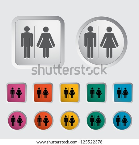 WC single icon. Vector illustration. - stock vector
