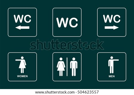 WC / Toilet door plate icon set. Men and women WC direction signs for restroom.