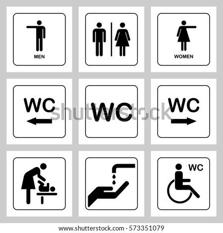 wc toilet door plate icons set stock vector 573351079. Black Bedroom Furniture Sets. Home Design Ideas