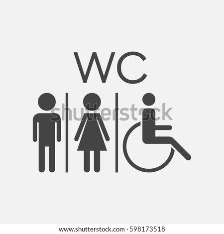 WC, toilet flat vector icon . Men and women sign for restroom on white background.