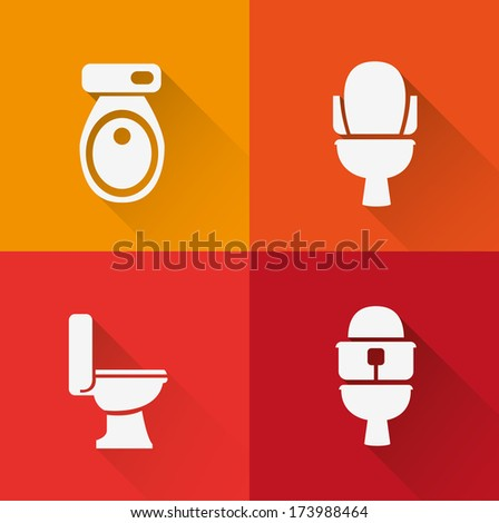 Wc ,Toilet icon ( long Shadow ) - stock vector