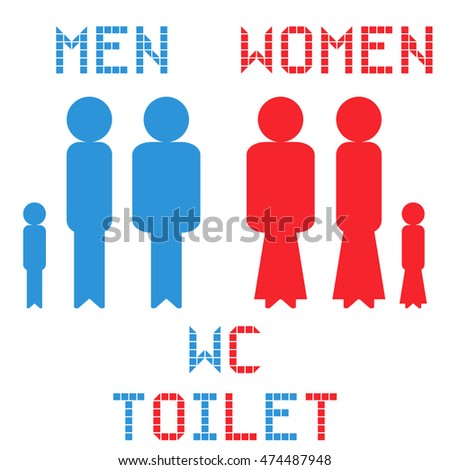 WC toilet men and women on the white background