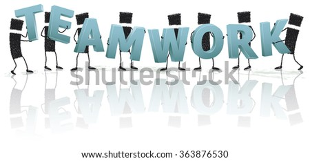 We are a great teamwork. Illustration of a group of people holding letters that spell the word Teamwork. EPS10 file.