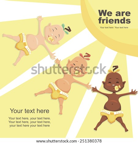 We are friends. children of different nationalities - stock vector