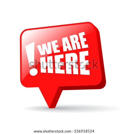 We are here map pin isolated on white background - stock vector