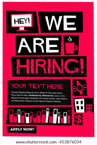 We are hiring! (Flat Style Vector Illustration Recruitment Poster Design)