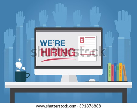We are hiring on computer background with many hands to request job ,Vector illustration - stock vector