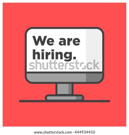 you were hiring recruitment design template stock vector 422792944