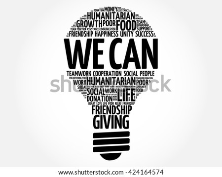 We Can bulb word cloud collage concept - stock vector