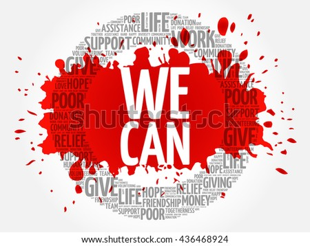 We Can word cloud collage, concept background - stock vector
