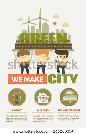We make green city concept for green energy building and transportation - stock vector