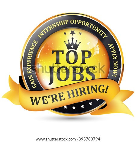 We're Hiring. Internship opportunity. Apply Now -  top Jobs - golden black stamp with ribbon. Printed colors used.  - stock vector