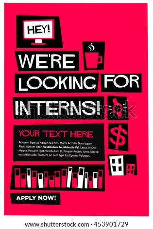 were looking for interns flat style vector illustration recruitment poster design