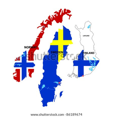 We see illustration of Isolated maps of Norway, Sweden and Finland - stock vector