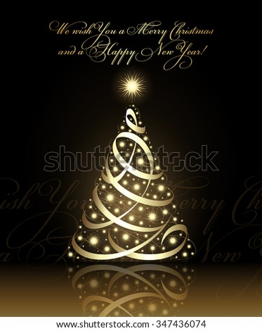 We wish you a Merry Christmas and a Happy New Year card with gold christmas tree, vector - stock vector