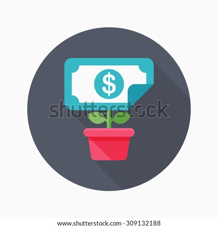 Wealth growth icon, vector illustration. Flat design style with long shadow,eps10 - stock vector