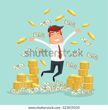 Wealthy businessman. Vector flat illustration - stock vector