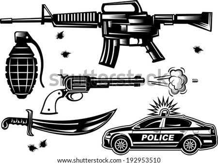 weapon collection vector - stock vector