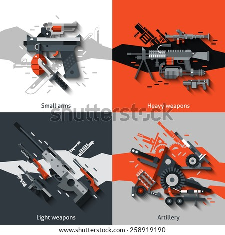 Weapon design concept set with small arms heavy light artillery flat icons isolated vector illustration - stock vector
