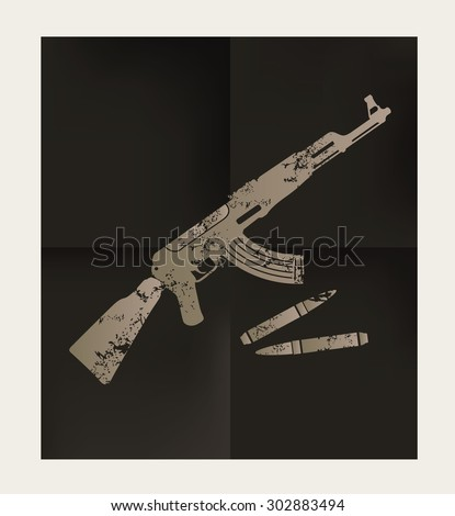Weapon design on black background,vector - stock vector