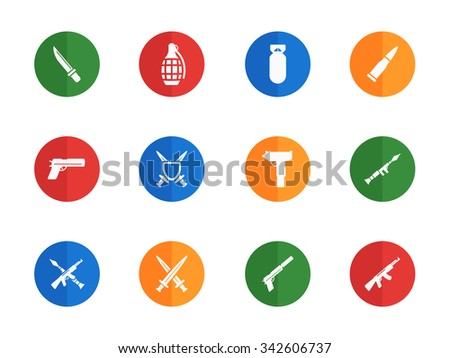 Weapon flat icons for media