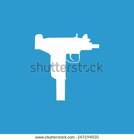 weapon icon, isolated, white on the blue background. Exclusive Symbols - stock vector