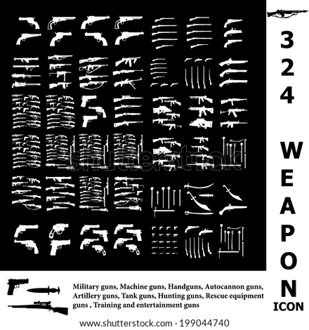 Weapon icon set  - stock vector
